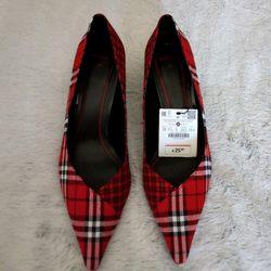 Sapatos Novos vermelhos xadrez foto 1