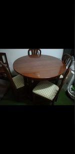 Mesa de sala com quatro cadeiras novas em mogno castanhas foto 1
