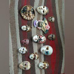 Coleção de mascaras de Pierrot em ceramica foto 1