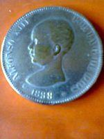 moeda numismática 5 pesetas 1888 coleção arte foto 1