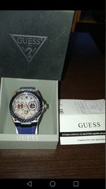 GUESS Men's Legacy 45mm Blue Silicone Band Steel C foto 1