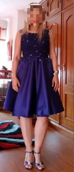 Vestido de cerimónia azul escuro M foto 1