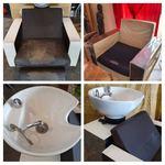 Mobiliario cabeleireiro:1 Rampa de lav. c/massagem (motor avariado) napa em mau estado, visível nas fotos.  4 cadeiras de corte/pentear c/hidráulico impecável, napa em maus estado. foto 1