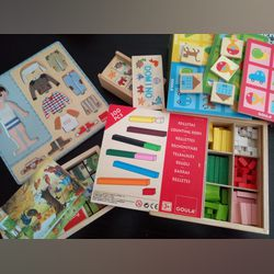 Jogos pedagógicos (cusinére; puzzle x2; e loto) em madeira) foto 1