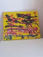 Quadro abstrato com tinta acrilica e verniz foto 1