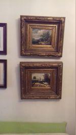 2 quadros inglêses em talha dourada foto 1