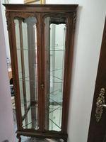 Vitrine de canto espelhada em vidro e madeira foto 1