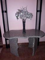 Conjunto mesa de mármore + suporte em ferro foto 1